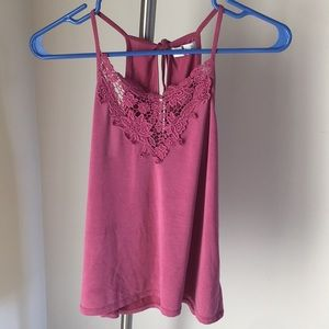 Pink crochet front cami